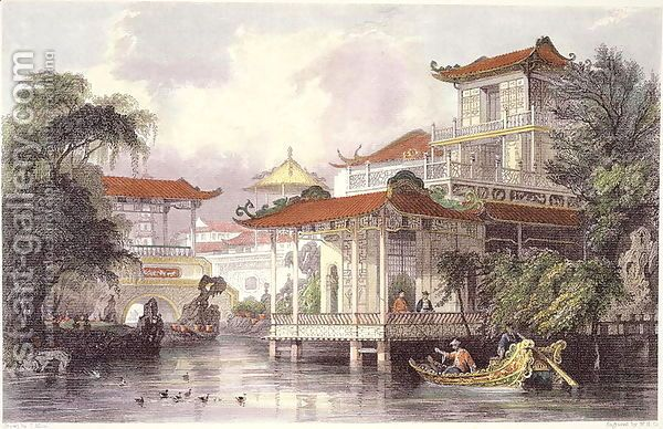Home of a Chinese Merchant near Canton, from 'China in a Series of Views' Thomas Allom | Oil Painting Reproduction | 1st-Art-Gallery.com