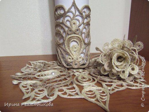 Приветствую рукодельниц! Сегодня у меня наборчик-трио: вазочка,розочка и салфетка. фото 6