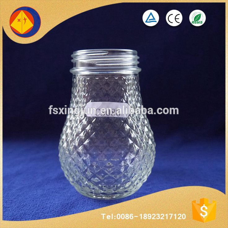 Best selling products fancy beautiful airtight pattern engraved glass pineapple light bulb jars