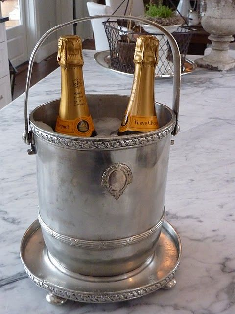 love using antique silverAntiques Silver, Traditional Weddings, Silver Champagne, S'Mores Bar, Champagne Buckets, Silver Buckets, Ice Buckets, Bar Carts, Hotels Silver