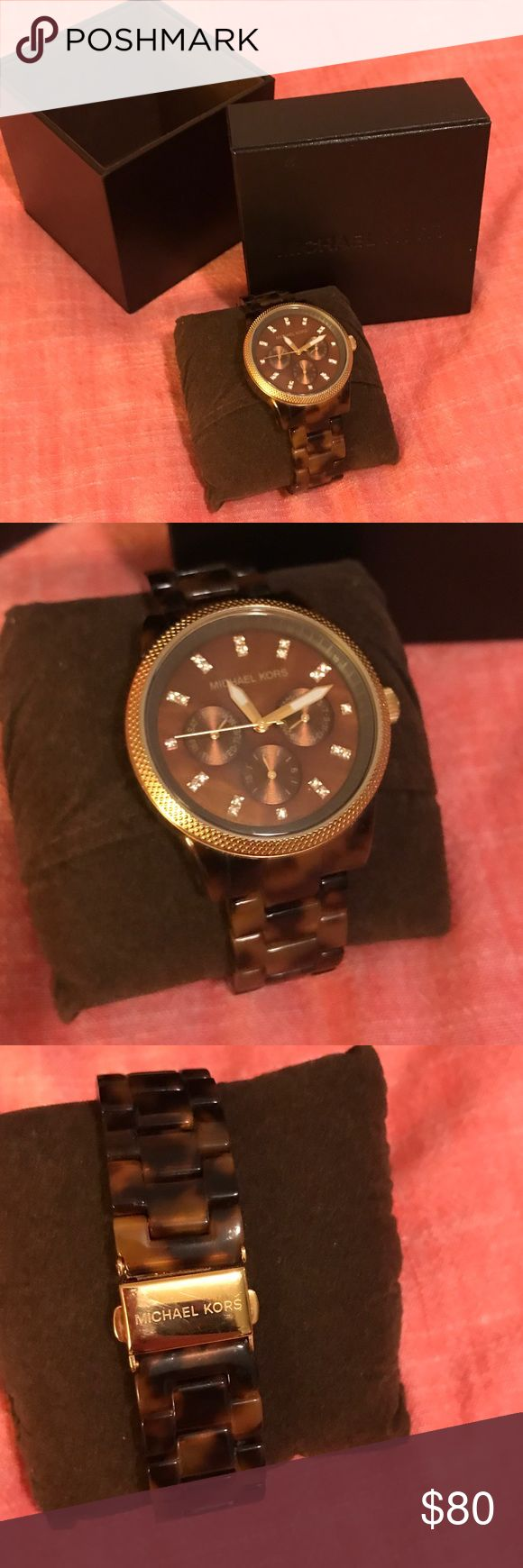 Michael Kors Tortoise Shell Watch Like New in Box Barely worn beautiful Michael Kors watch with Tortoise acrylic band with gold and quartz accents. Michael Kors Accessories Watches