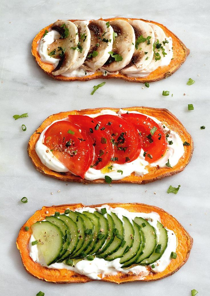 Sweet potato toasts - an easy, fun snack or even breakfast, especially if you're trying to avoid gluten or grains. eatwell101.com