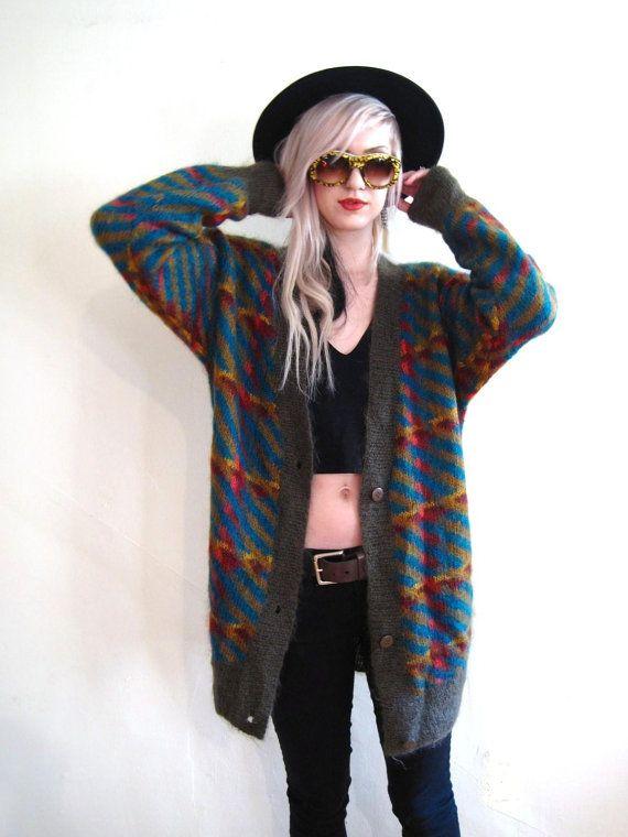 Vintage 80s 90s sweater oversized slouchy boyfriend cardigan fuzy mohair grunge jumper ...