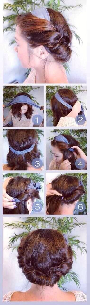 Quick Summer Updo With Scarf