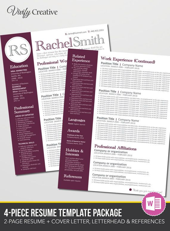 Resume Template Download Editable Instant By