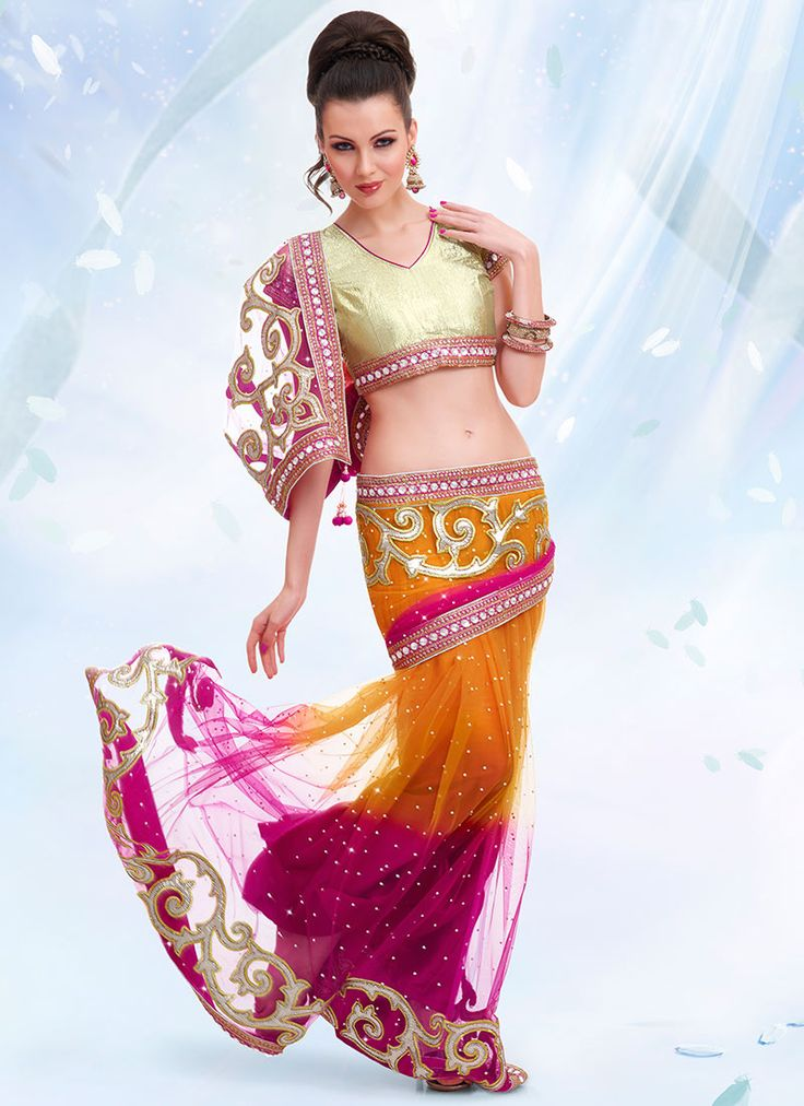 Buy Scintillating Net Lehenga Saree online from the wide collection of Saree. Orange,  Magenta  colored Saree goes well with any occasion. Shop online Designer Saree from cbazaar at the lowest price.