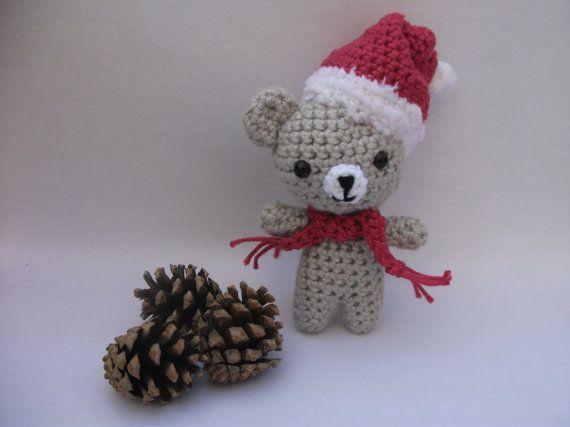 Christmas amigurumi pocket bear wearing his santa hat and ...