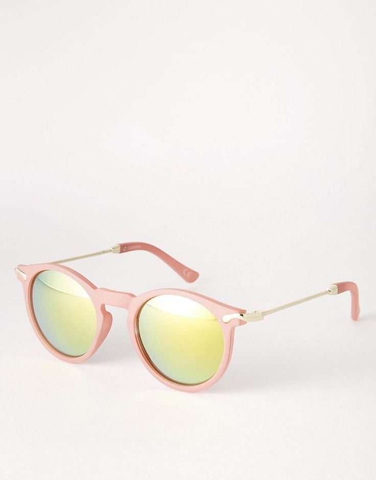 Gafas de sol finas con montura redonda con lentes flash y patillas de metal de ASOS 11,99 €