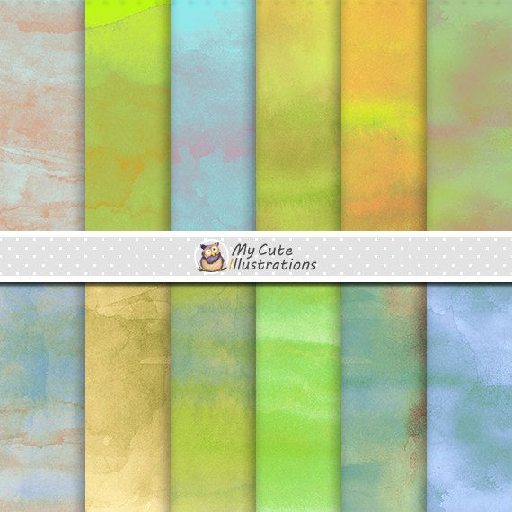 Watercolor digital paper: WATERCOLOR PAPER with coloured watercolor digital…