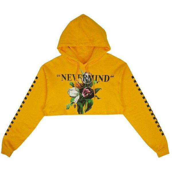 Nevermind Crop Hoodie in Gold ($60) ❤ liked on Polyvore featuring tops, hoodies, yellow hoodie, gold hoodies, gold top, gold hoodie and yellow hoodies