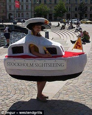 This employee has to waddle around dressed a boat, all in the name of Stockholm tourism