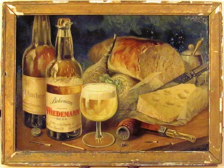 c1890 ANTIQUE WIEDEMANN ROYAL AMBER&BOHEMIAN BEER REVERSE GLASS ADVERTISING SIGN