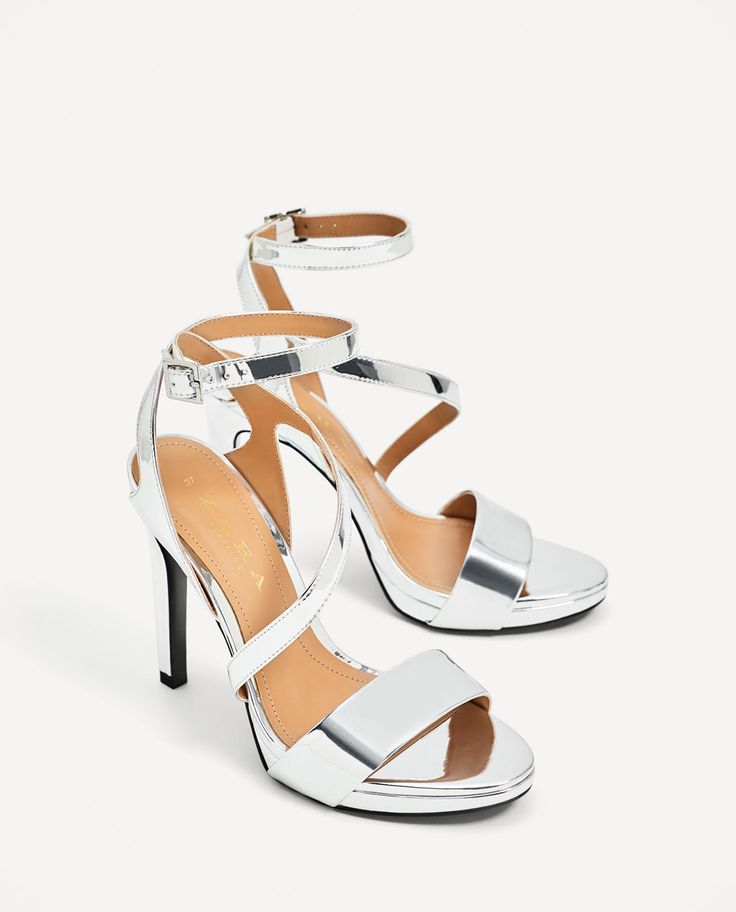 SILVER HIGH HEEL SANDALS-Heeled sandals-SHOES-WOMAN | ZARA Hungary