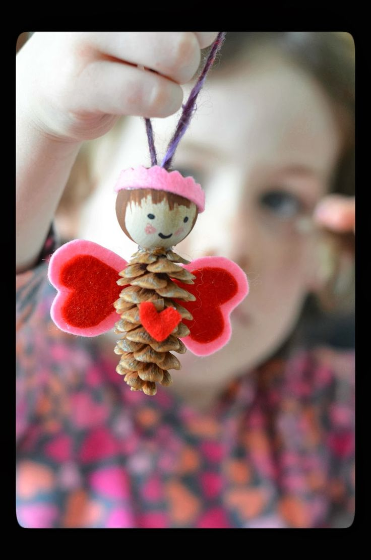 Twig and Toadstool: Winter (Christmas ornament made with pinecone)
