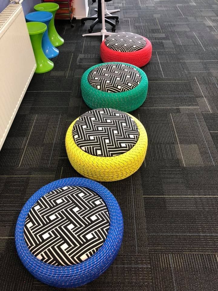 A Neat Idea Of Using Tyres To Create And Wonderful Class Space Used Tires Tire Furniture Diy Arts And Crafts