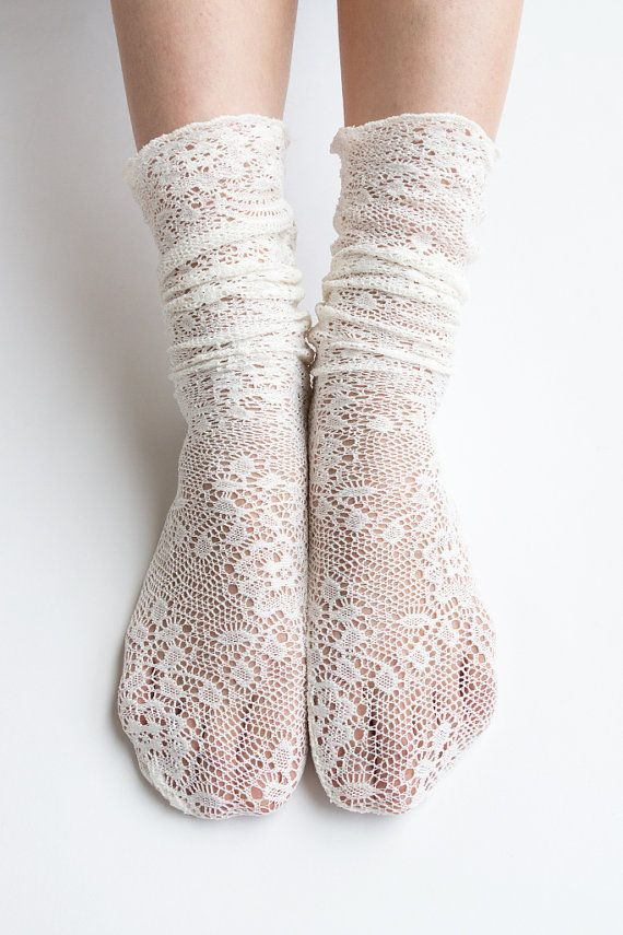 Women New Hezwagarcia Nylon Spandex Knitted Floral Mesh Lace Ivory Loose Socks Wedding Socks