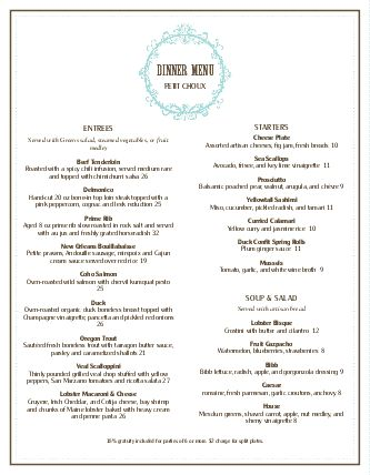 View French Restaurant Menu
