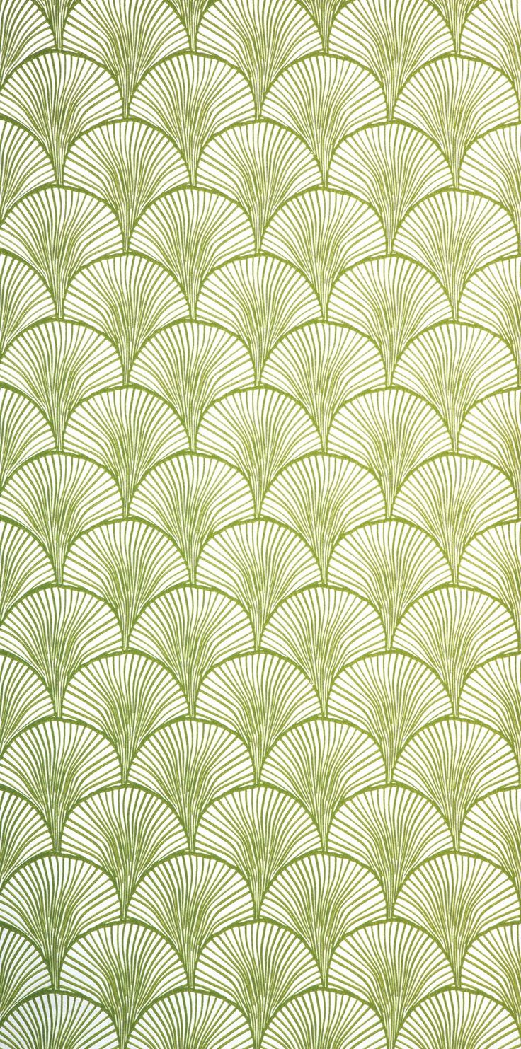 Styalized ginkgo wallpaper--moss green (mimou)