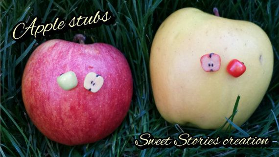 Apple stubs, miniature food earrings, polymer clay jewelry by SweetStoriesCreation