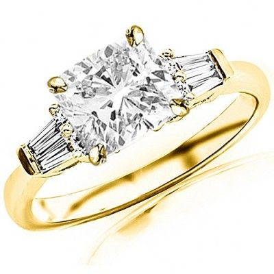 Rings, Chandni Jewels, 1.35 Cttw 14K Yellow Gold Cushion Cut Prong Set Round And Baguette Diamond Engagement Ring with a 1 Carat H-I Color SI2-I1 Clarity Center