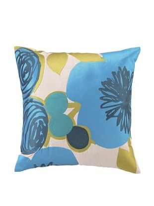 65% OFF Trina Turk Multi Floral Embroidered Pillow (Blue)