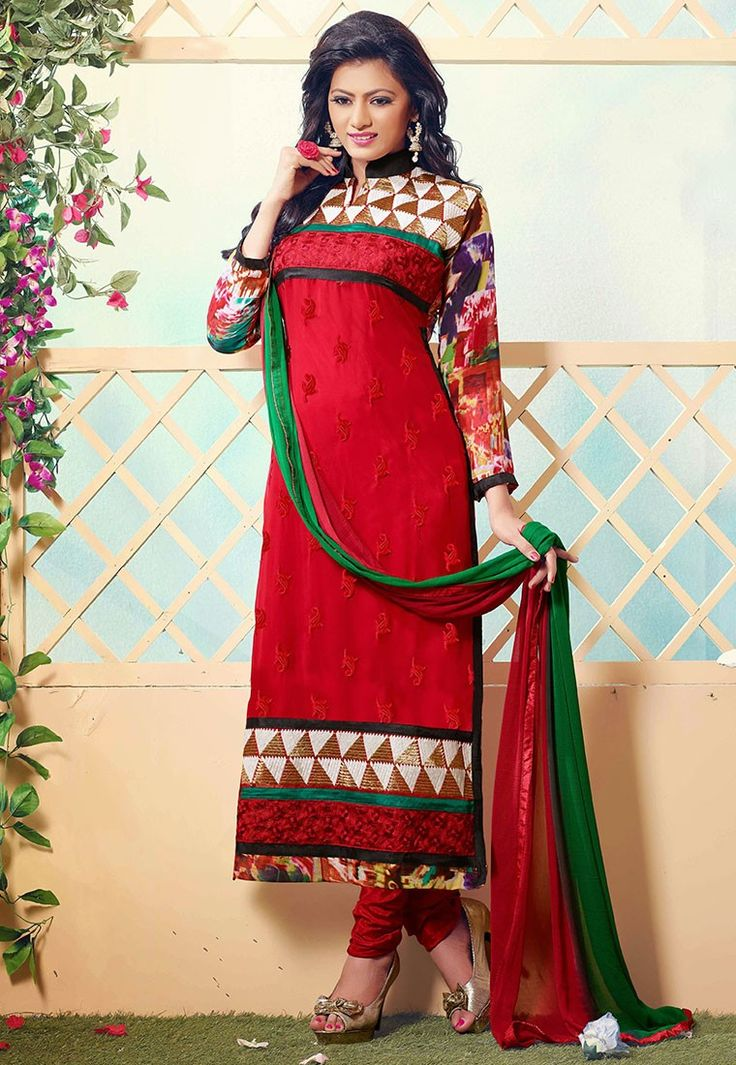 """Beware of the #man who works hard to learn something, learns it, and finds himself no wiser than before."" Red #Color Georgette Designer #Salwar Kameez"