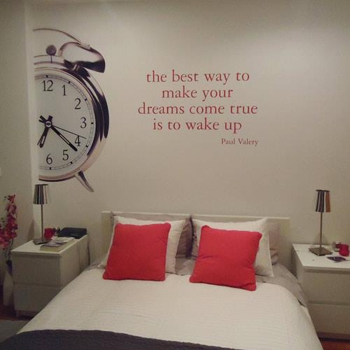 Wall Decal Quote: Wall Decor, Alarm Clocks, Wall Decals, Wake Up, Wall Words, Cars Stickers, Wall Stickers, Guest Rooms, Dreams Coming True