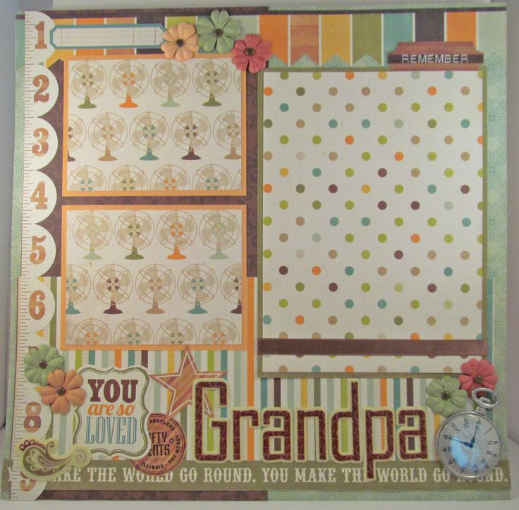 Grandpa 12x12 premade scrapbook page layout family grandfather by hlpapercrafts