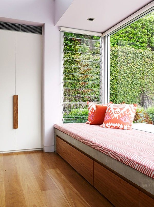Arent & Pyke Pavilion House: cosy nooks; practical storage; green wall.