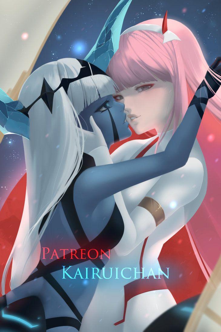 001 X 002 Darling In The Franxx By Kairui Chan Darling In The Franxx Darling White Background Wallpaper