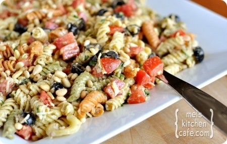 tri color pasta salad with creamy caesar dressing