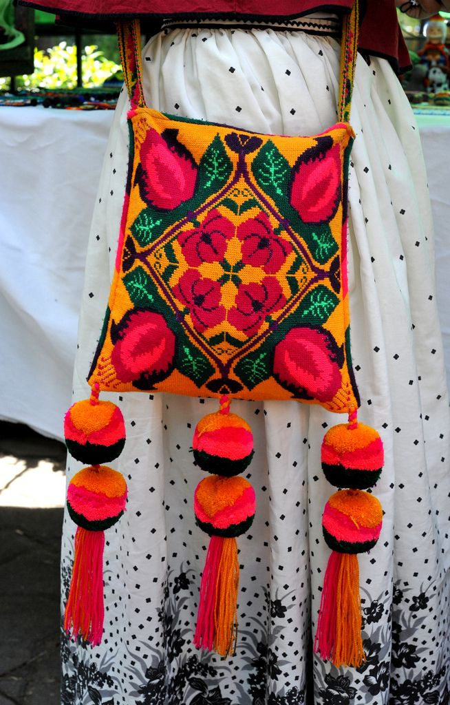 This colorful shoulder bag belongs to a young Huichol woman from Santa Catarina, Jalisco, Mexico.