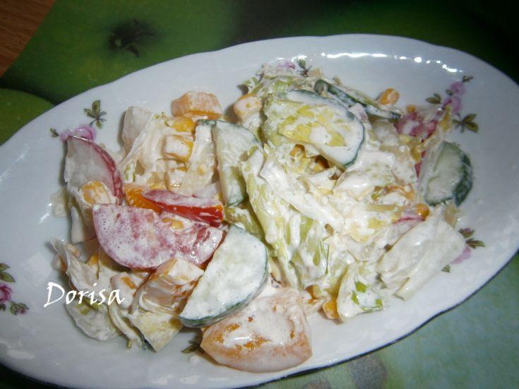 Zeleninový šalát so smotanou