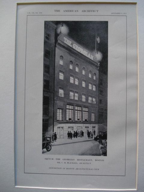 Sketch of the Georgian Restaurant , Boston, MA, 1912, Mr. C.H. Blackall