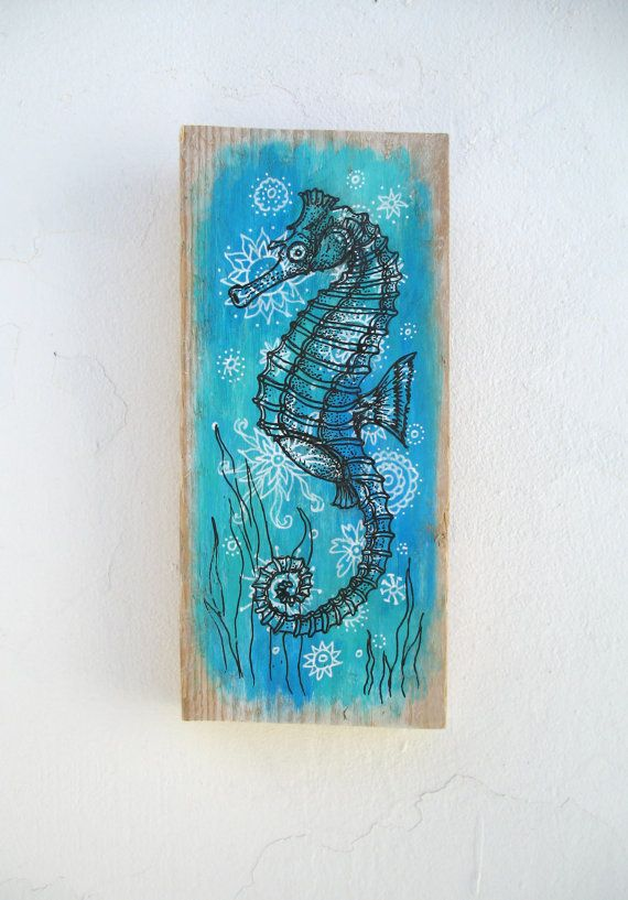 Hand Painted Driftwood Sea Horse On Patterned Mandala by GeoJoyful