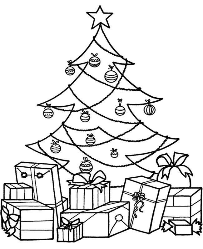 Christmas Tree With Presents Coloring Pages Gambar Natal Warna Gambar