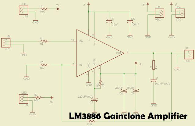 LM3886 Amplifier Circuit | Amplifier, Circuit diagram ...
