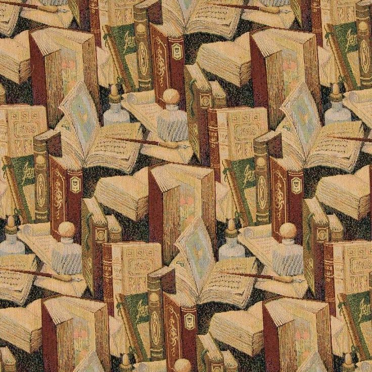 Classic Book Writing Utensil Inkwell Tapestry Upholstery Fabric By The Yard  Perfect For Library Furniture!