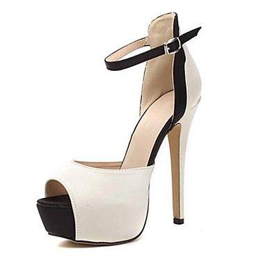 sandálias de salto stiletto toe espreitadela com sapatos femininos fivela - EUR € 25.45