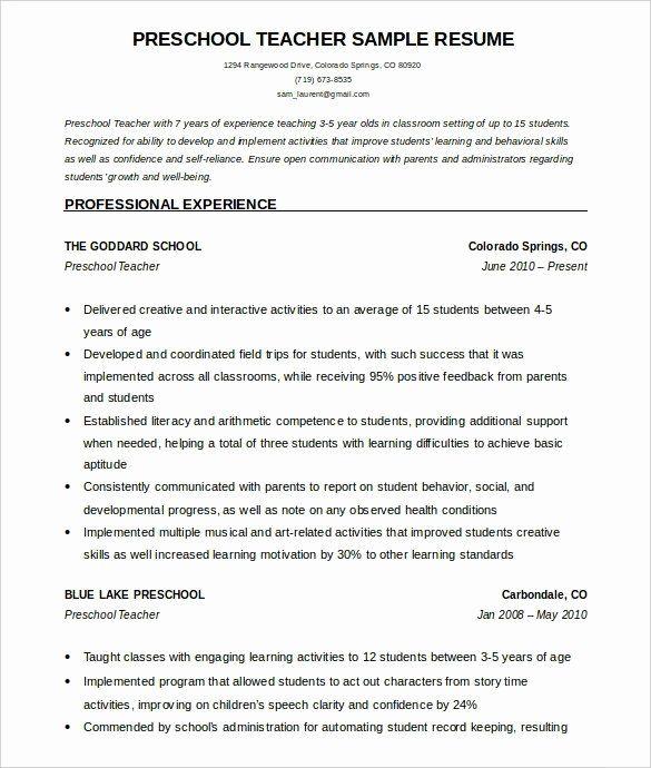 23 Preschool Teacher Resume Examples In 2020 Teacher Resume