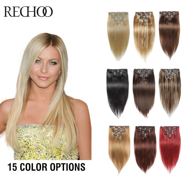 Full Head 10 Pieces Clip In Human Hair Extensions Black Brown Blonde Red Hair Extensions Thick Human Hair Extensions Clip In