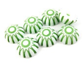 8  - 12mm Vintage Round Dome Shape Flat Back Plastic Cabochons - Green