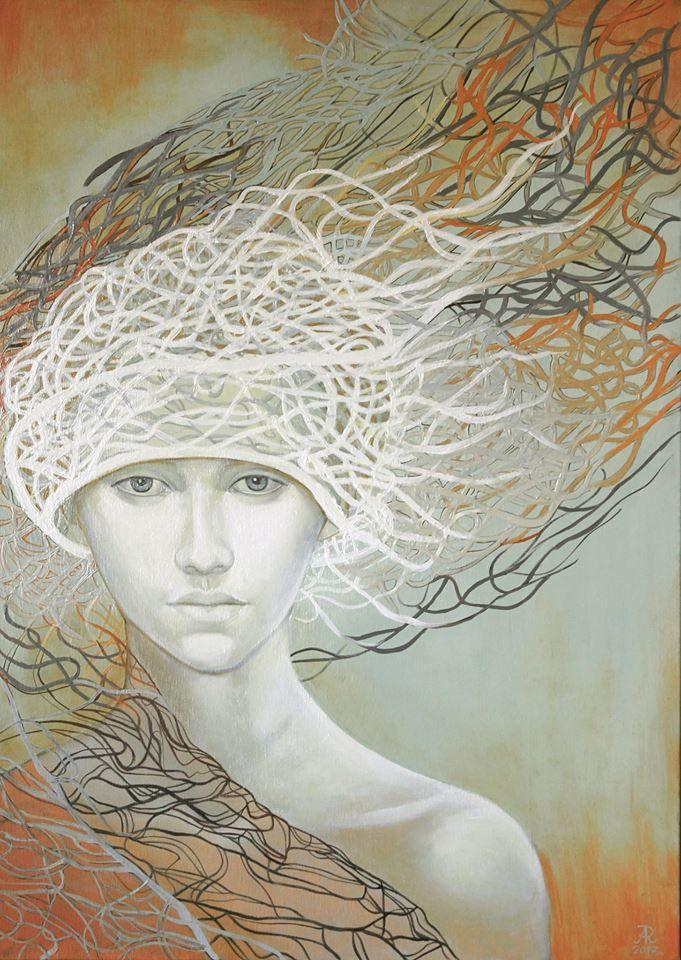 Anna Rączka ,,Poza czasem''olej na płótnie 100 x 70 cm