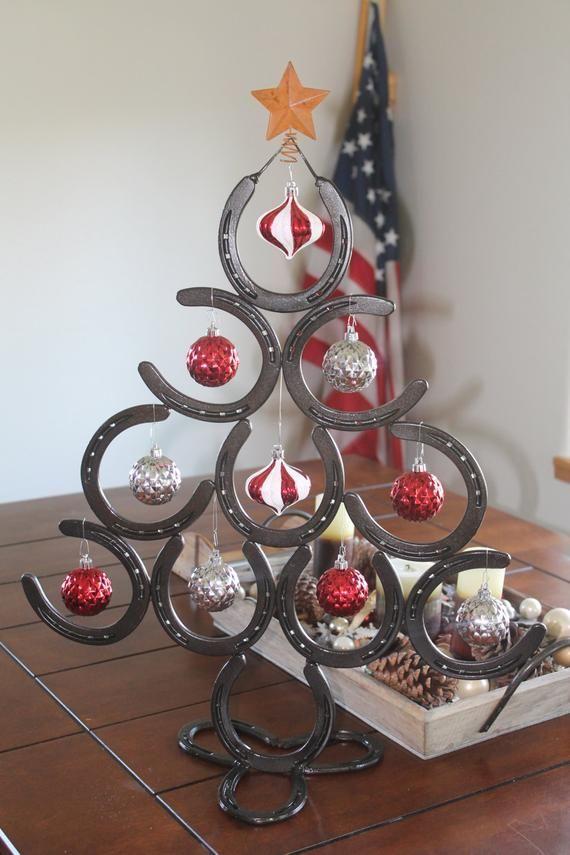 Horseshoe Christmas Tree Lucky Horseshoe Christmas Tree Homemade Christmas Decorations Christmas Tree Painting