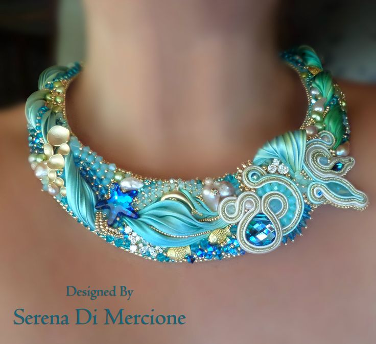 "COLLIER, bead embroidery, shibori silk, soutache, swarovski. Designed by ""Serena Di Mercione Jewelry"""