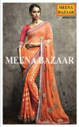 Refresh yourself with this gorgeously designed Orange Zardosi and sequins work Georgette Saree