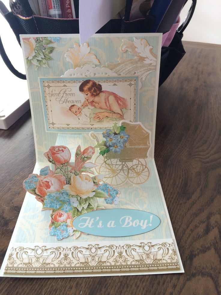 Anna Griffin pop up card base teamed up with Graphic 45 papers to make this baby card
