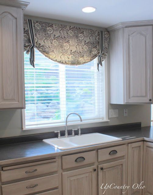 Home Decorating Ideas Kitchen Window Treatments Informal Roman Shade Above Sink