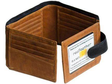 MENS FOURFOLD LEATHER WALLET26CARD SLOTS NATURAL REAL LEATHER 927