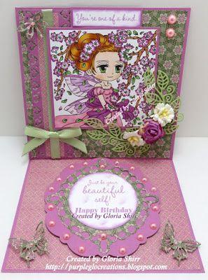 Purpleglo Creations: Birthday Card Using Art by Miran Whimsy Stamp Calantha With Cricut Art Philosophy Cartridge